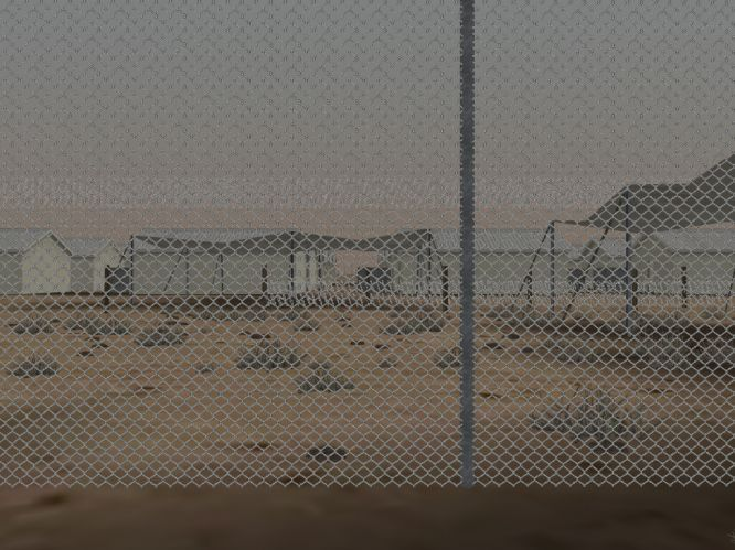 Huts with shelters, Camp Bucca, Iraq