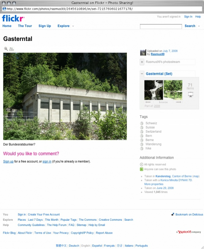 Screenshot from Webpage 'Gasterntal on Flickr - Photo Sharing!'