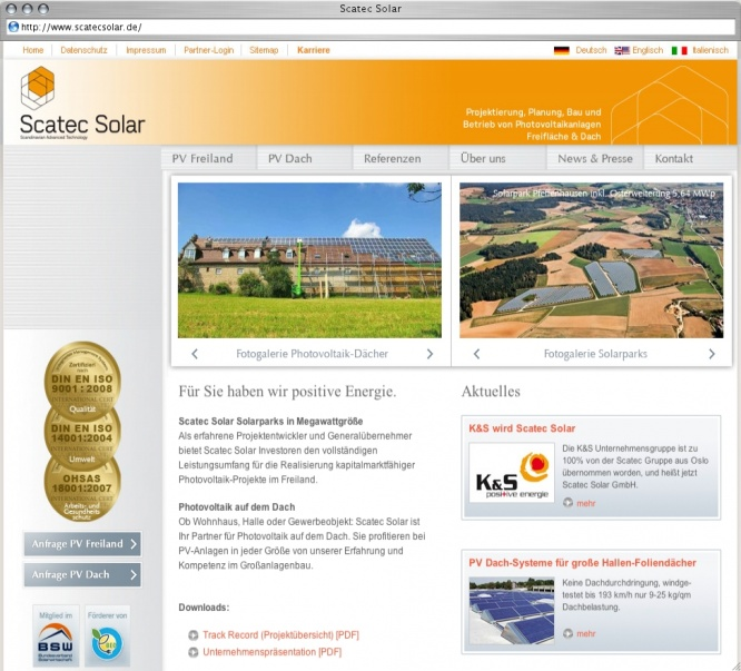 Screenshot from Webpage 'Scatec Solar'