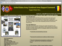 Screenshot from Webpage 'United States Army Combined Arms Support Command - Fort Lee, Virginia'