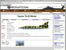 Screenshot from Webpage ' 	Tupolev TU-22 Blinder - CombatAircraft.com '