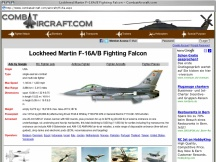 Screenshot from Webpage ' 	Lockheed Martin F-16A/B Fighting Falcon - CombatAircraft.com '