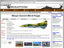 Screenshot from Webpage ' 	Mikoyan-Gurevich MiG-23 Flogger - CombatAircraft.com '